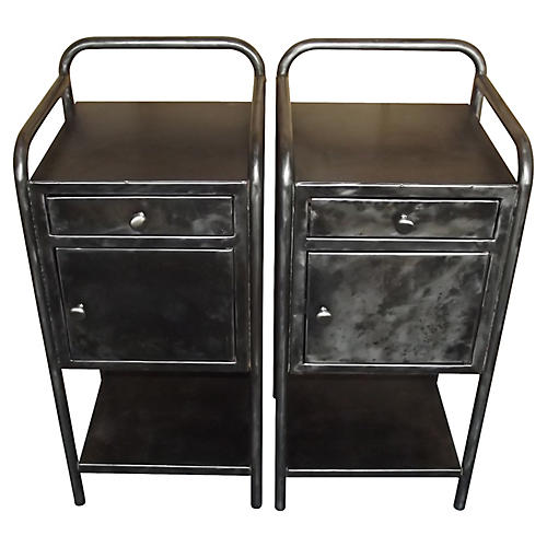 French Industrial Nightstands, S/2
