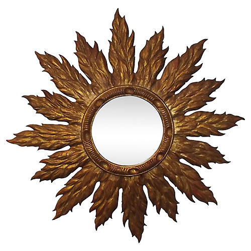 Carved Wood Sunburst Mirror