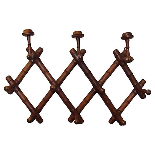French Expandable Faux-Bamboo Coat Rack