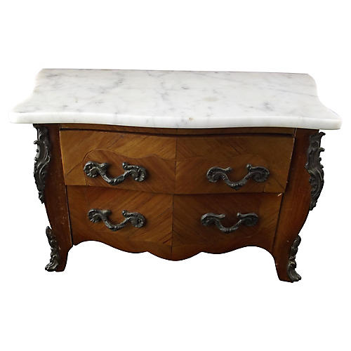 Miniature Louis XIV Marble Top Commode