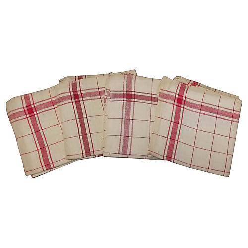 French Red Stripe Towels, S/4