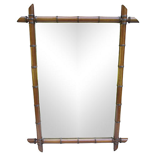 French Faux-Bamboo Mirror