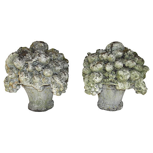 French Cast Stone Garden Compotes, Pair