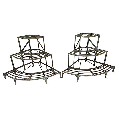 French Wrought Iron Plant Stands, Pair