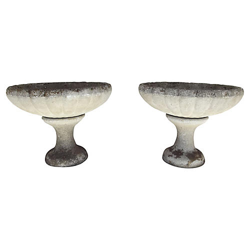 French Cast Stone Urns, Pair