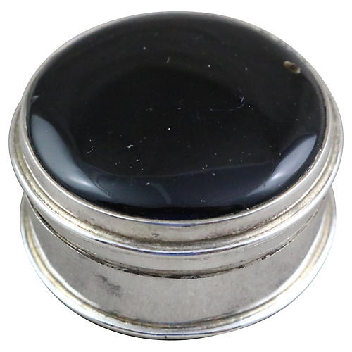 Round Sterling & Jet Pill Box