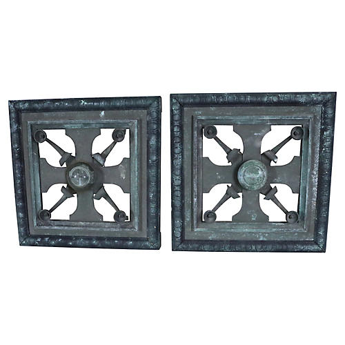French Empire Bronze Door Panels, Pair