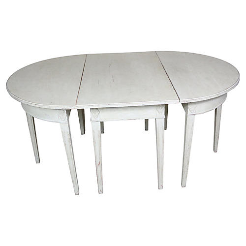 Gustavian-Style Dining Table, 3 Pcs