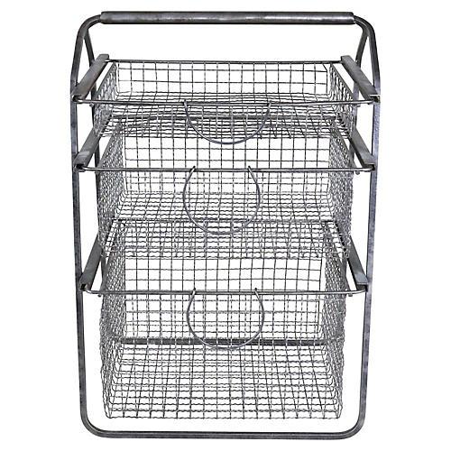 French Polished Steel Vegetable Basket
