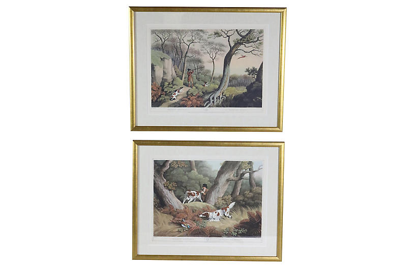 English Pheasant Hunting Prints, S/2