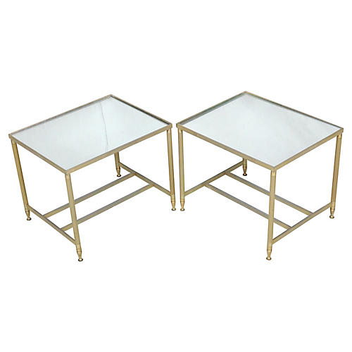 Brass Framed Side Tables w/Mirror Tops
