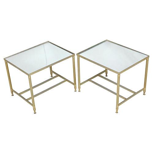 Brass Framed Side Tables w/Mirror Tops