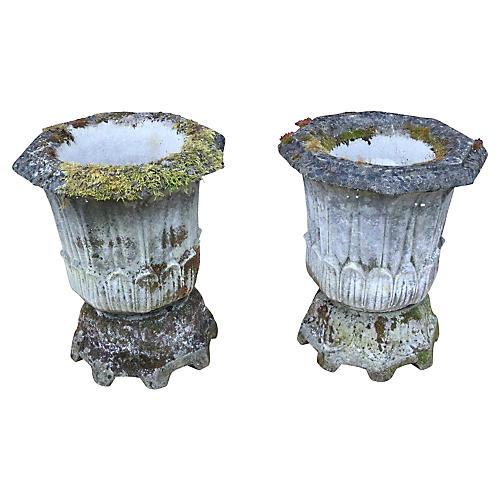 English Gothic Cast Stone Urns