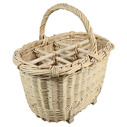 French Champagne Bottle Carrying Basket