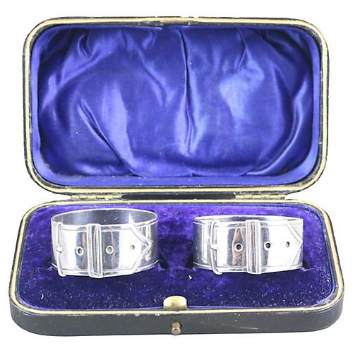 Boxed Pair of English Silver Napkin Ring