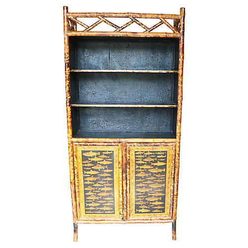 English Vintage Bamboo Library Cabinet
