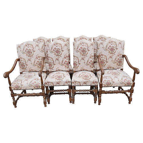 Louis XIII Style Dining Chairs, Set of 8