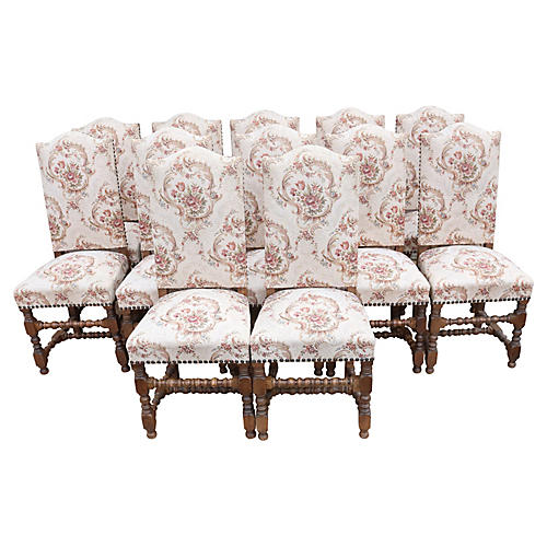 Louis XIII Style Dining Chairs, Set/12
