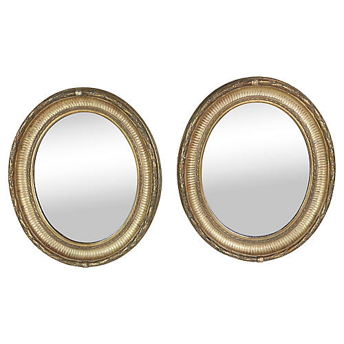 Napoleon III Gilt Framed Mirrors, Pair