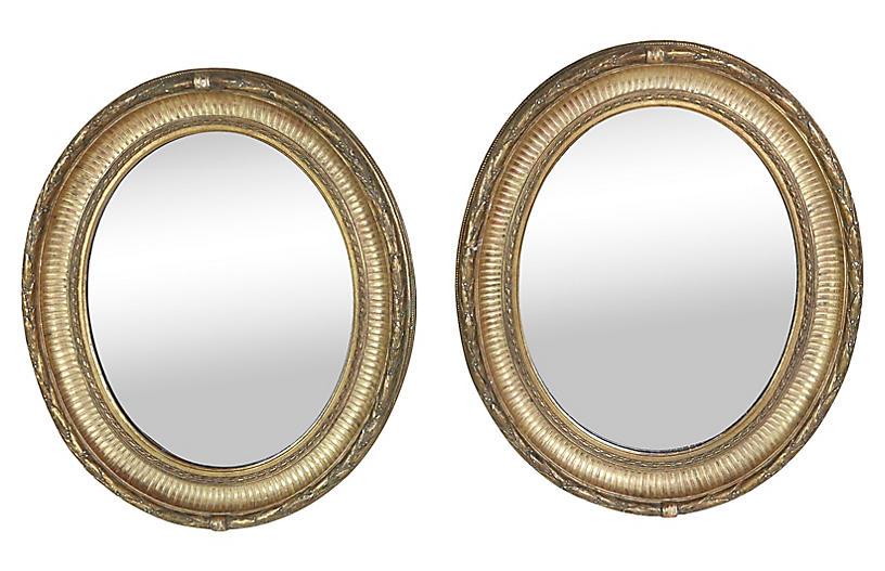 Napoleon III Gilt Framed Mirrors, Pair
