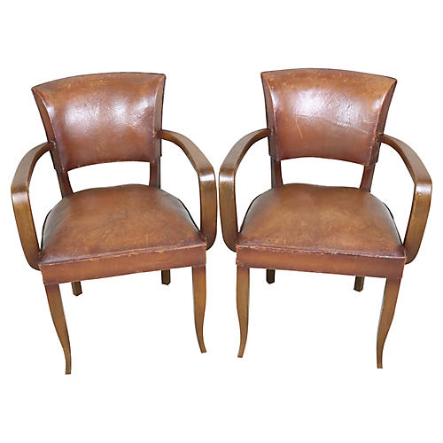 French Leather Bridge Chairs, Pair