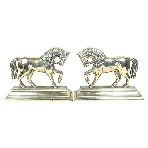 English Brass Horses, Pair
