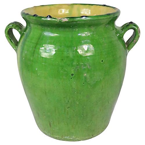 French Green Glazed Storage Crock