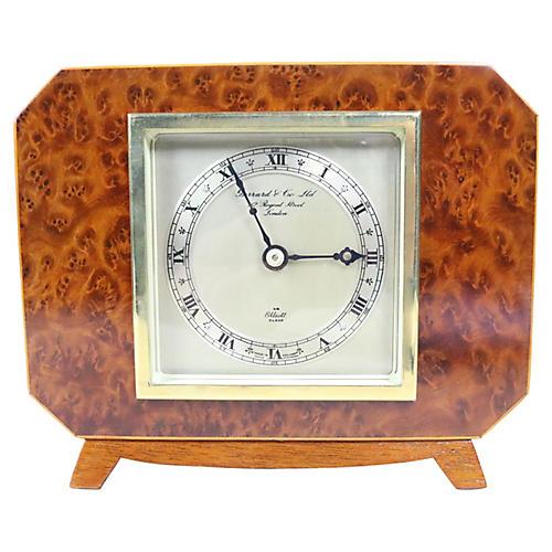 English Deco Burl Walnut Clock