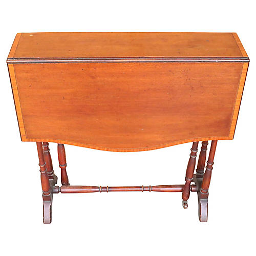 English Mahogany Drop-Leaf Side Table