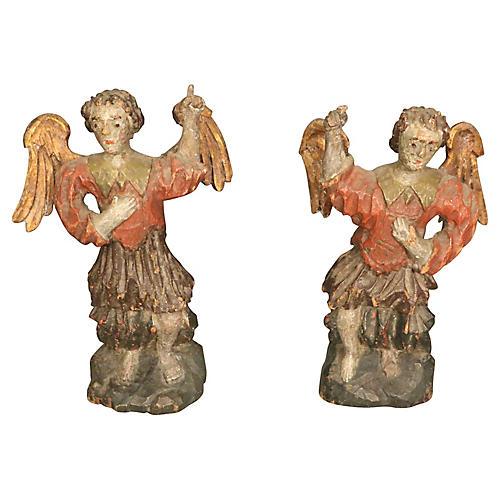 Carved Wood Angels, Pair