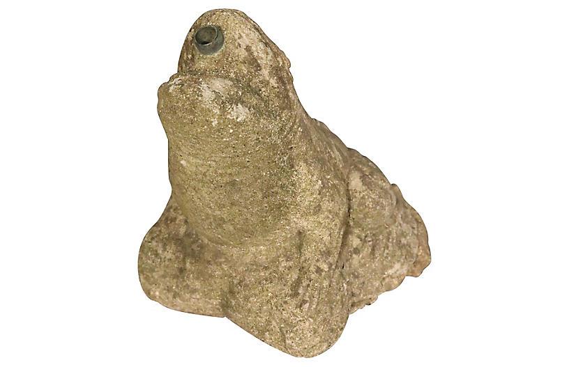 English Cast Stone Frog Fountain Head