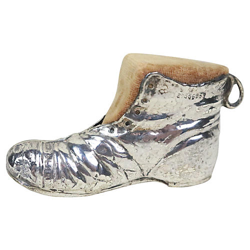 English Silver Boot Pin Cushion
