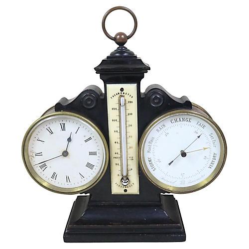 English Desk Clock/Barometer