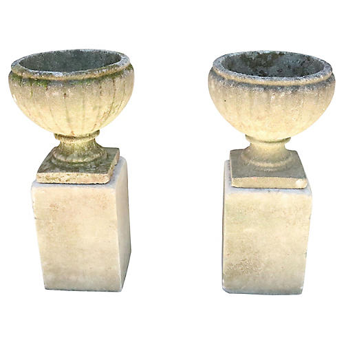 English Cast Stone Garden Urns on Bases