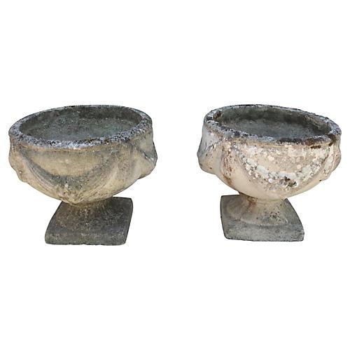 English Cast Stone Garden Planters, Pr