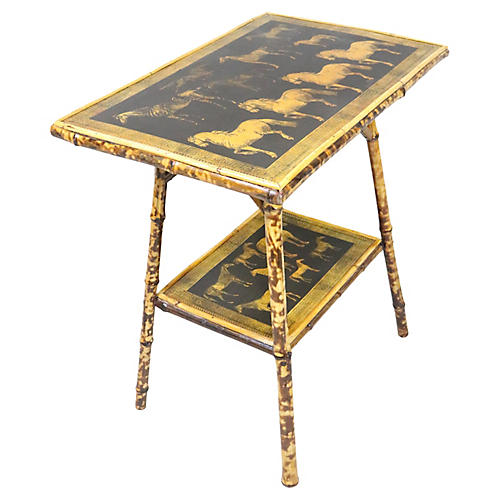 English Victorian Bamboo Table w/Horses