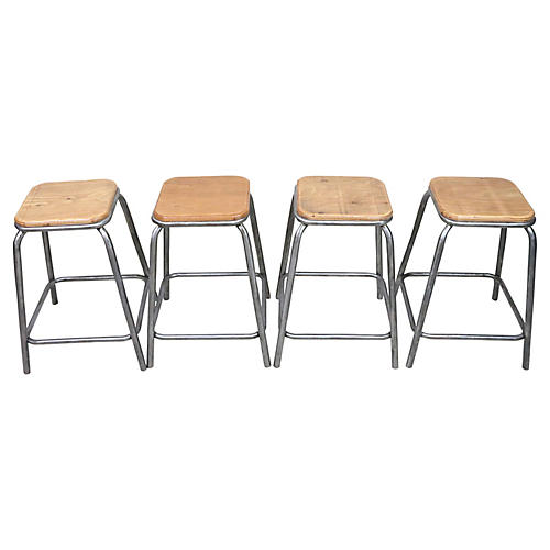 French Industrial Stools, Set/4