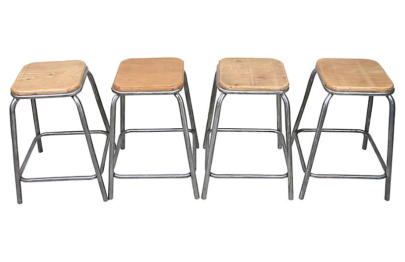 French Industrial Stools, S/4