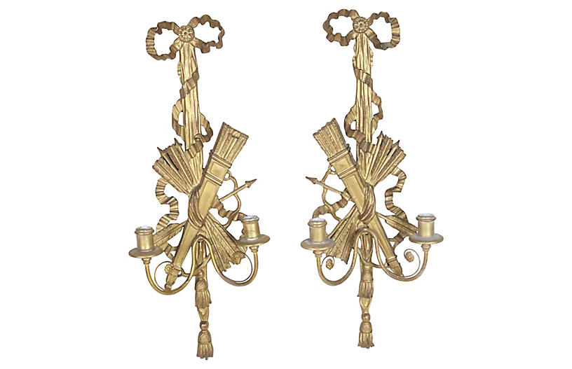 Louis XVI Carved Wooden Sconces, Pair