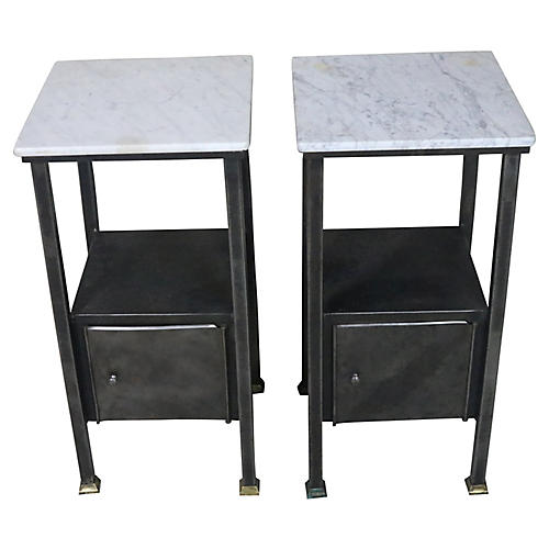 French Marble Topped Industrial Stands