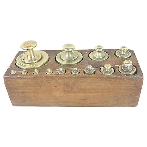 French Brass Scale Weight Set