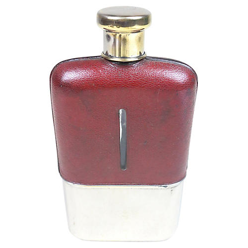 English Leather and Silver Plate Flask