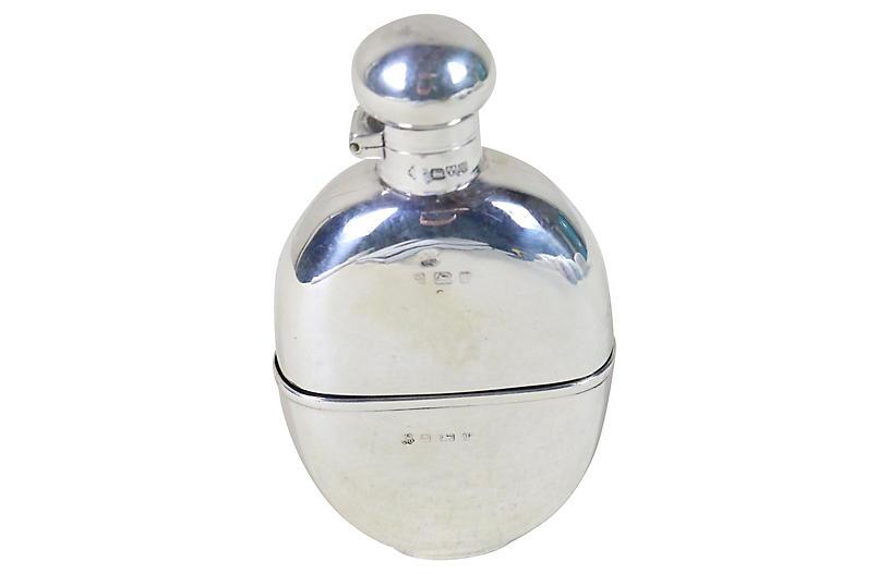 English Victorian Sterling Pocket Flask