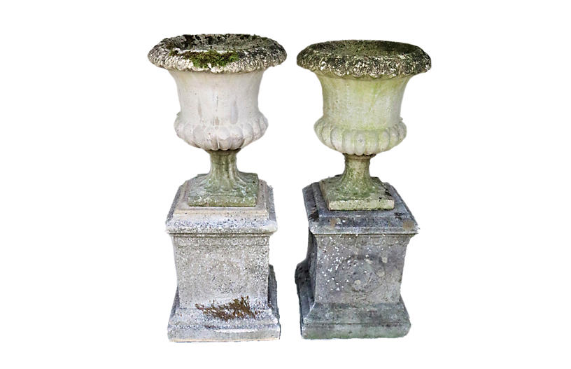 English Cast Stone Urns on Bases, Pair