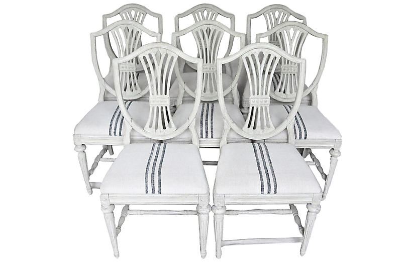 Gustavian-Style Dining Chairs, S/8