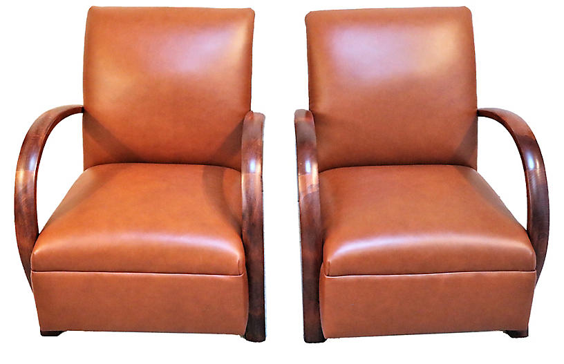 French Loop Armchairs in Leather, Pr