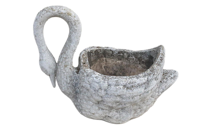 French Cast Stone Swan Planter