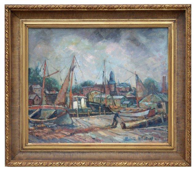 Harbor Scene by H. Rotenberg, C. 1940