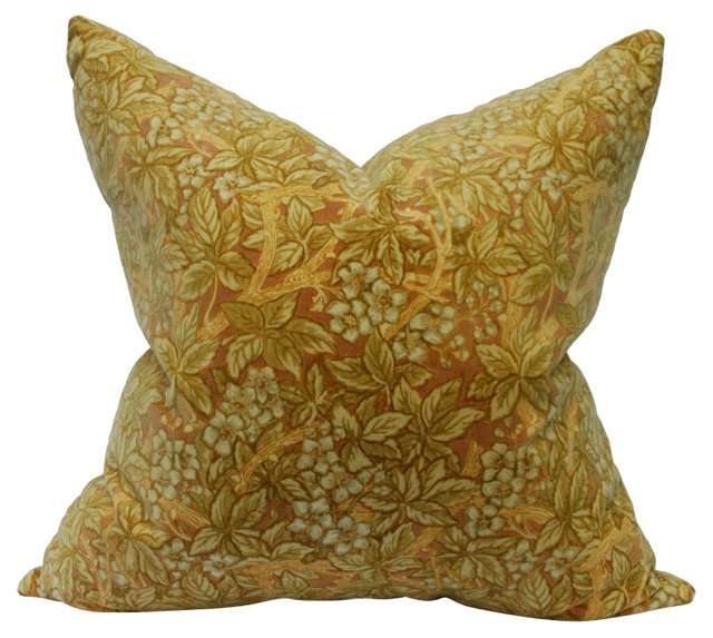 Antique English Velvet Vine Pillow