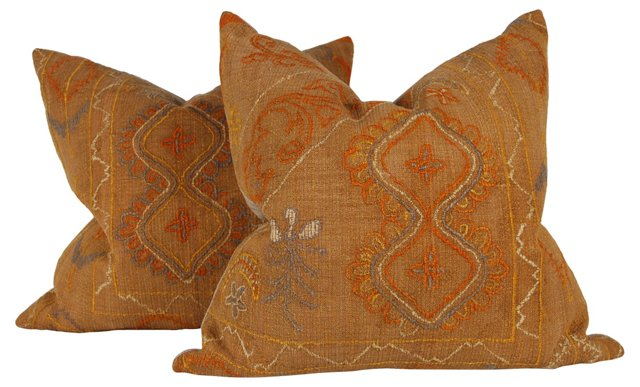 Tribal Wool-Embroidered Pillows, Pair